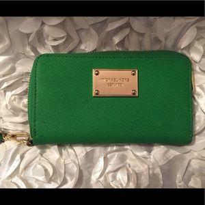 Grass green Micheal Kors wallet wristlet